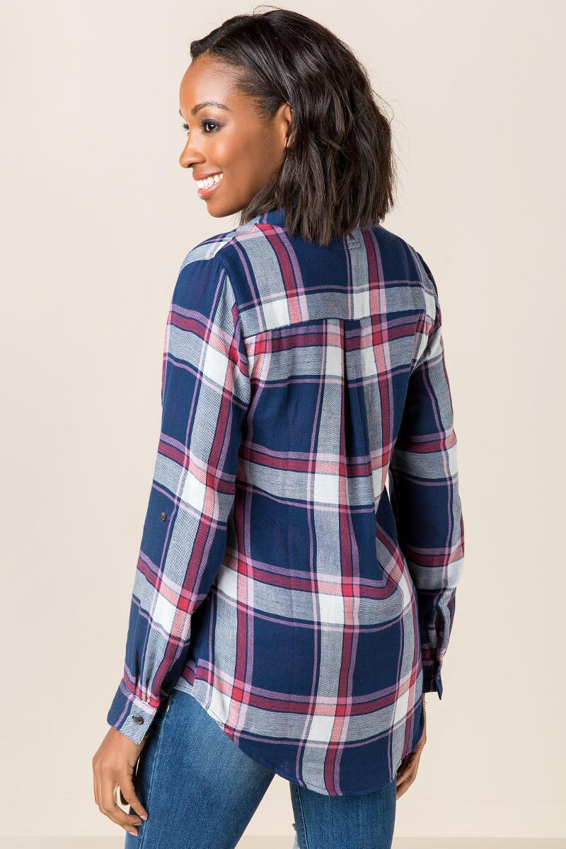 Darla Plaid Button Down Top-  navy-clback