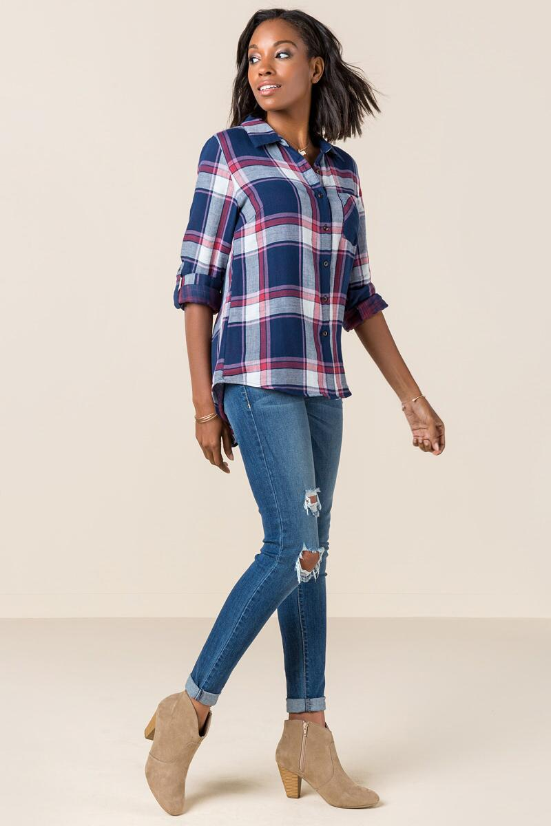 Darla Plaid Button Down Top-  navy-clmodel