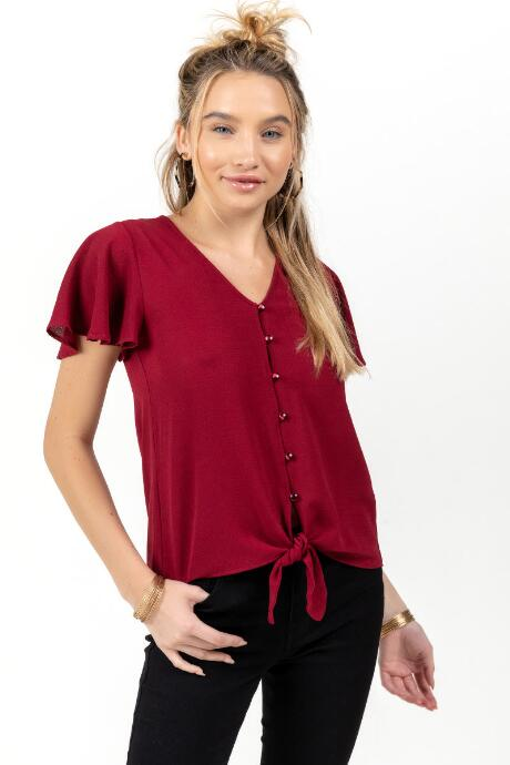 Toni Button Front Tie Blouse