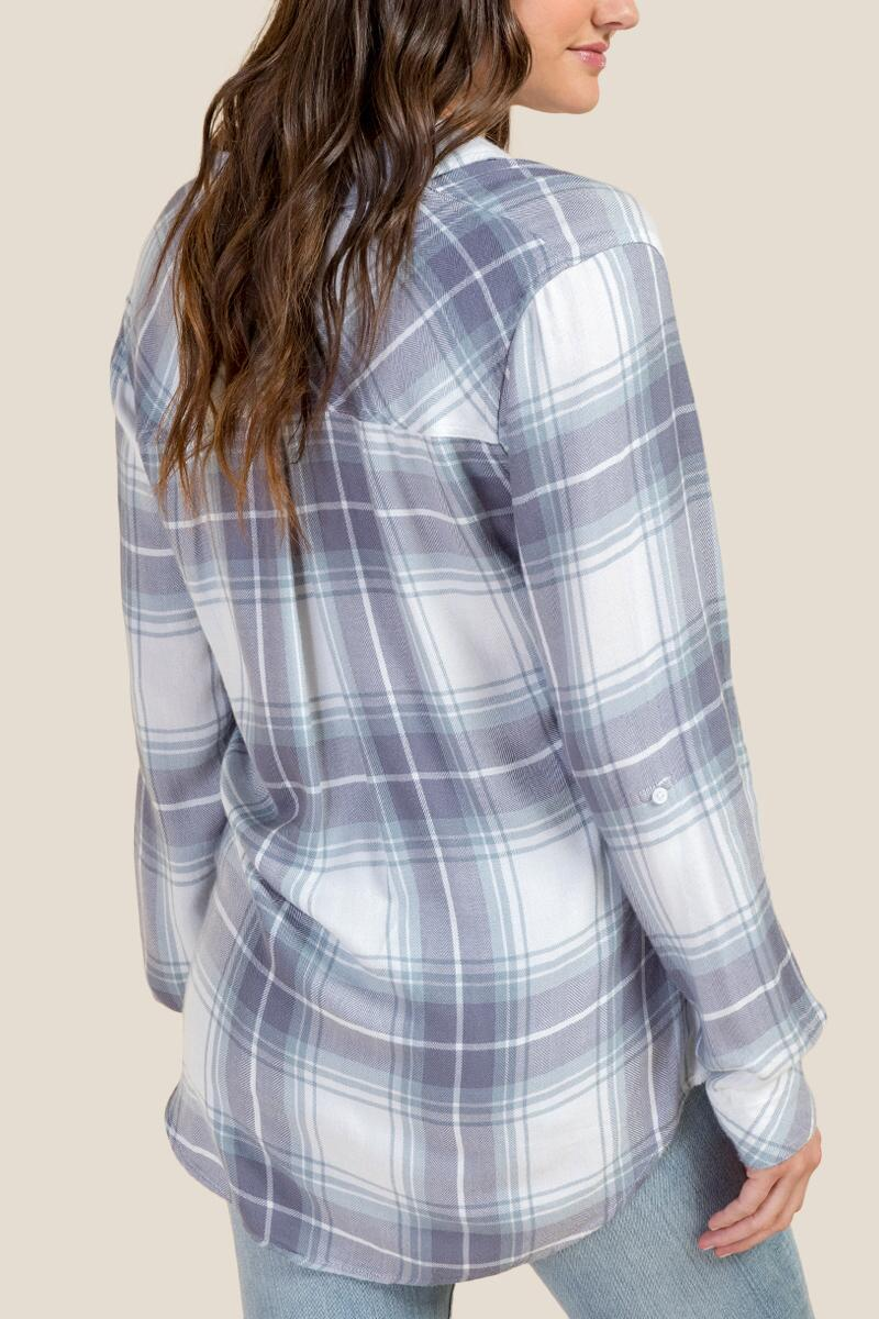 Alexandria Plaid Button Down Top-Ivory 2