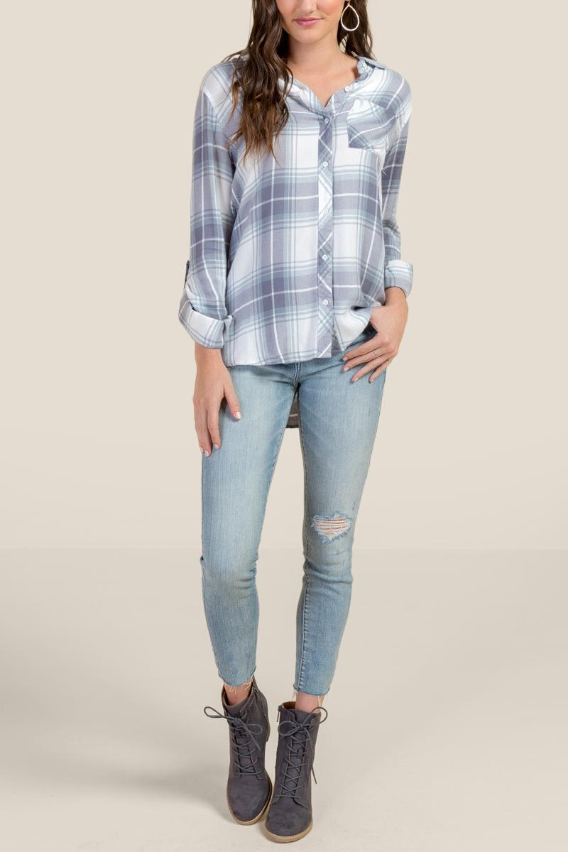 Alexandria Plaid Button Down Top-Ivory 4