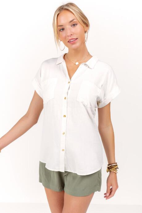 Joy Double Pocket Button Down Top