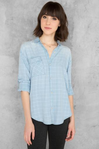 Juliette Chambray Buttoned Blouse