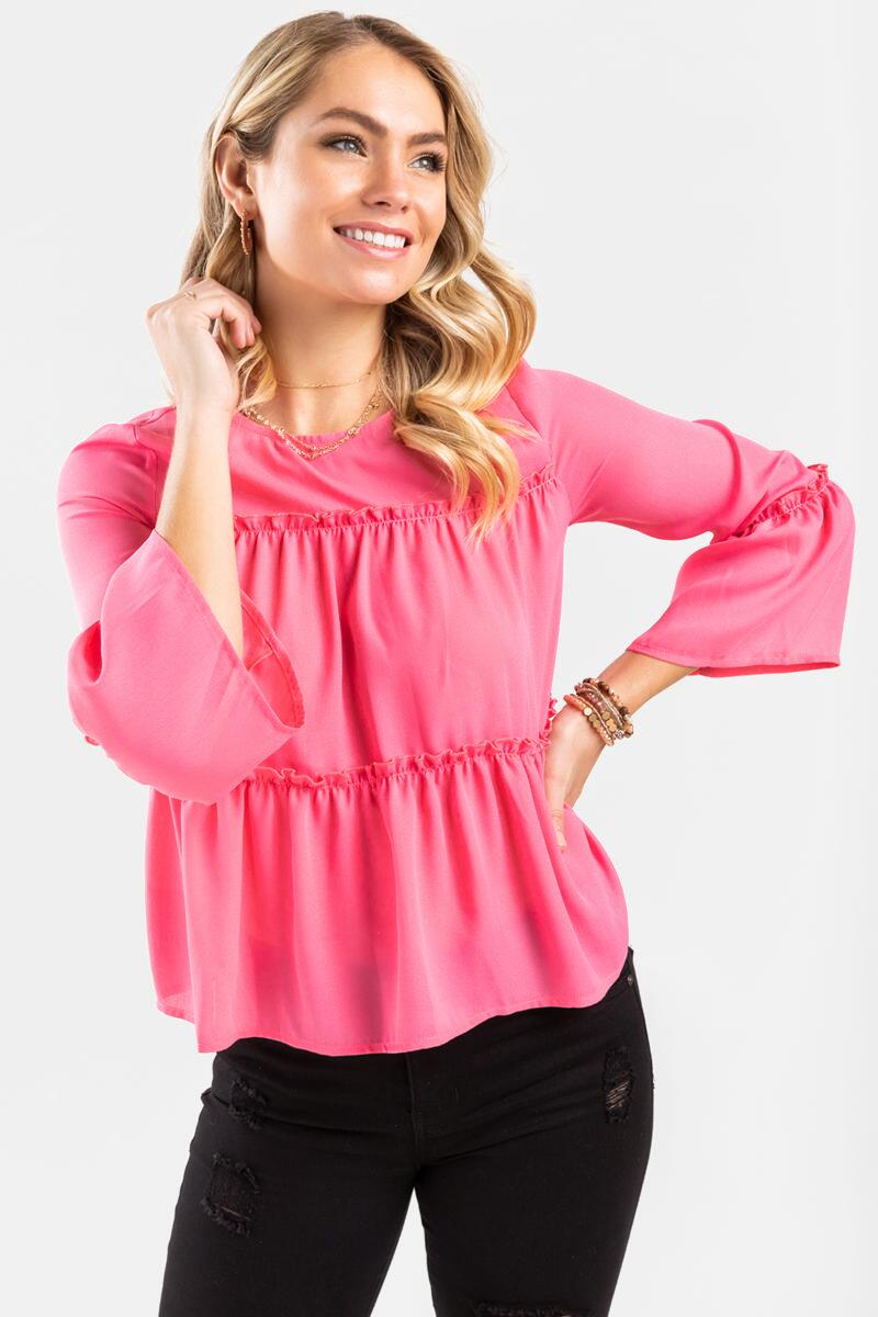 Zoey Tiered Blouse-  pink-cl