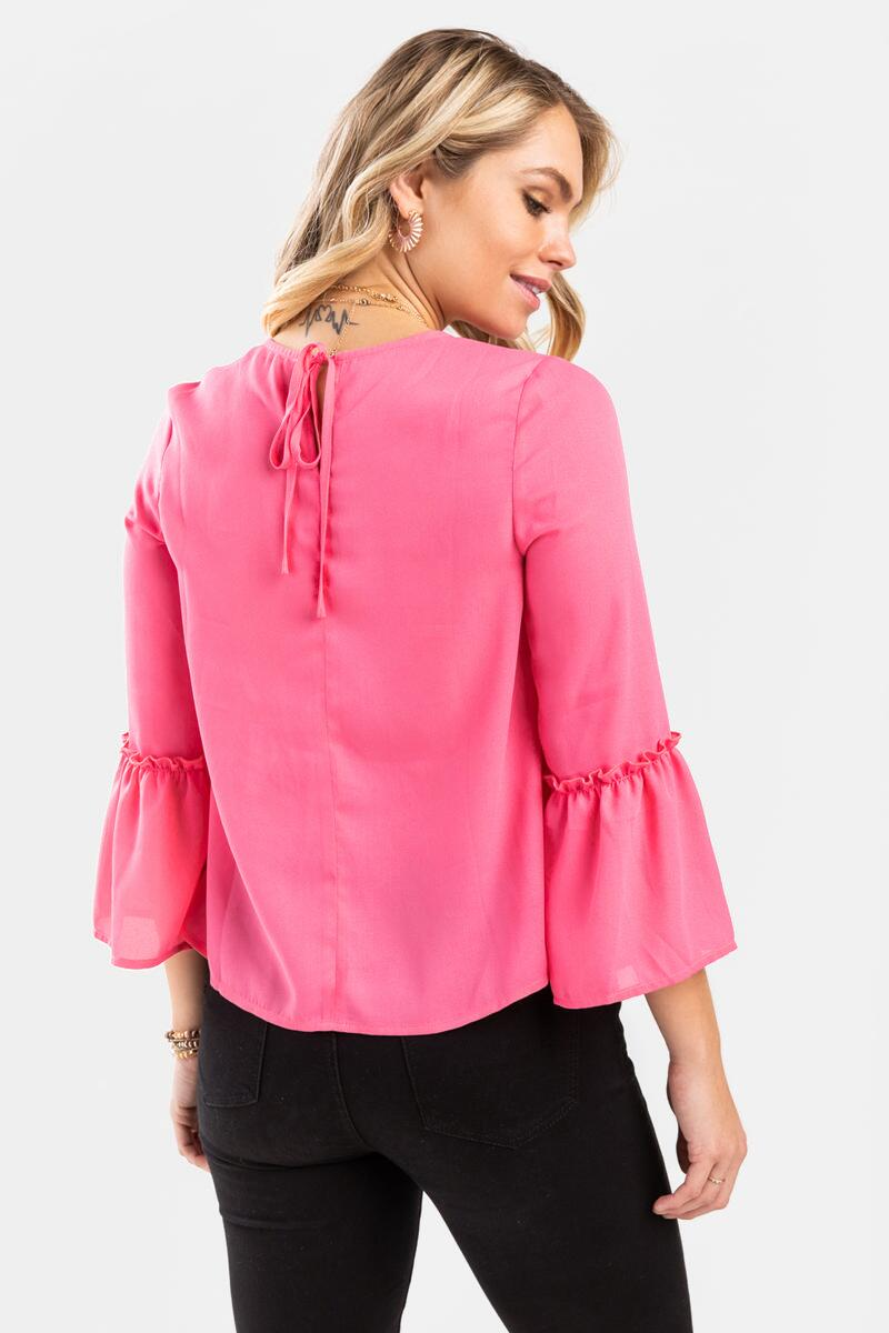 Zoey Tiered Blouse-  pink-cl4