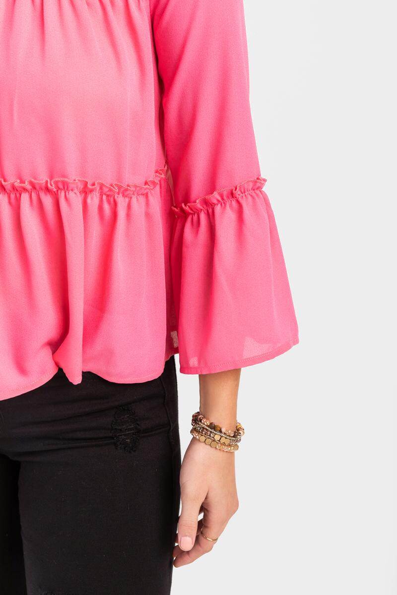 Zoey Tiered Blouse-  pink-cl5