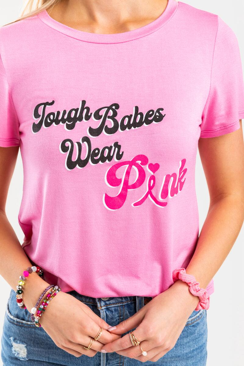Tough Babes Wear Pink Tee Breast Cancer Awareness Tee- Pink 4