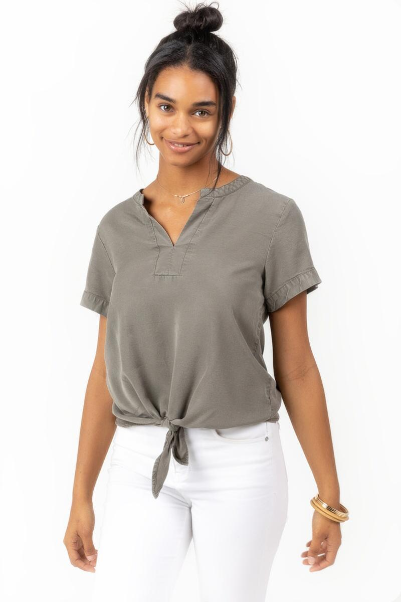 Chloe Tie Front Blouse-Olive