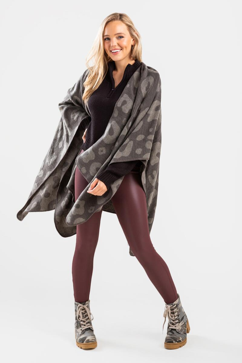 Oleviah Oversized Poncho-  gray-cl