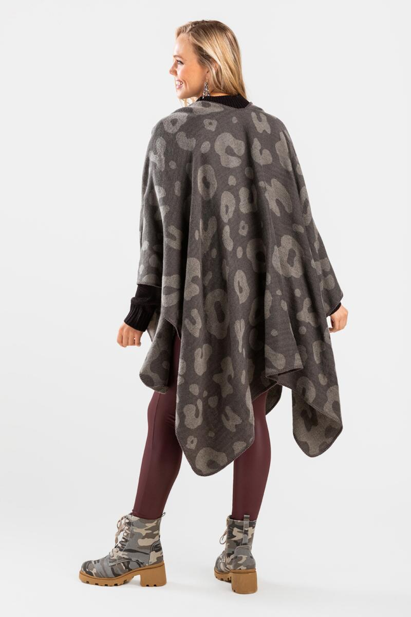 Oleviah Oversized Poncho-  gray-cl2