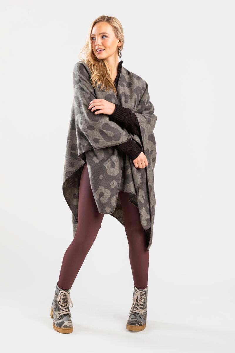 Oleviah Oversized Poncho-  gray-cl3