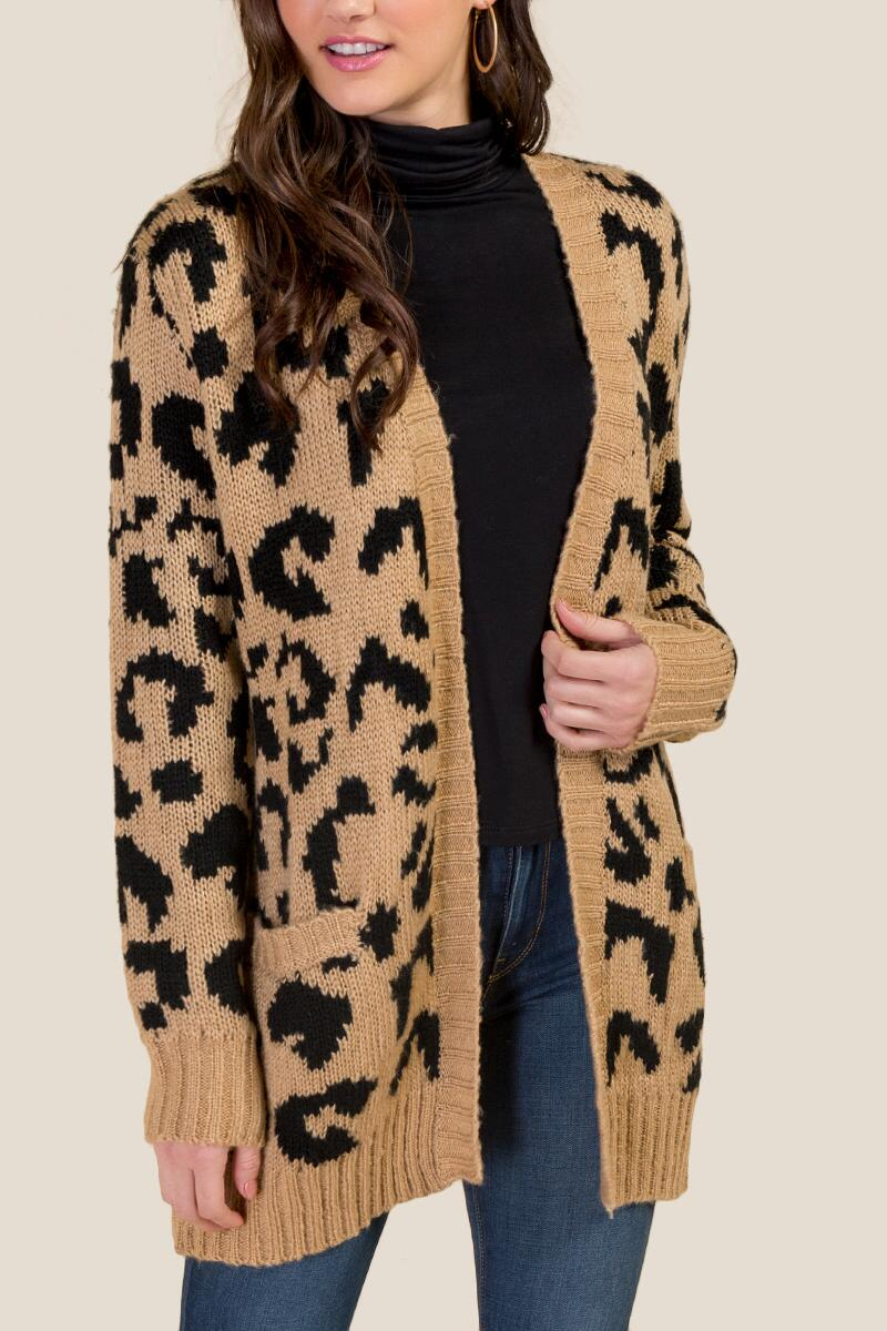 Willow Leopard Cardigan-  taup-cl