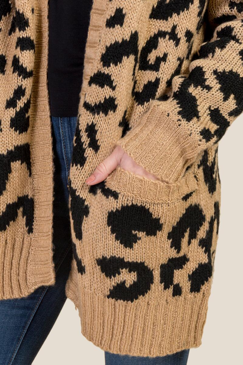 Willow Leopard Cardigan-  taup-cl3