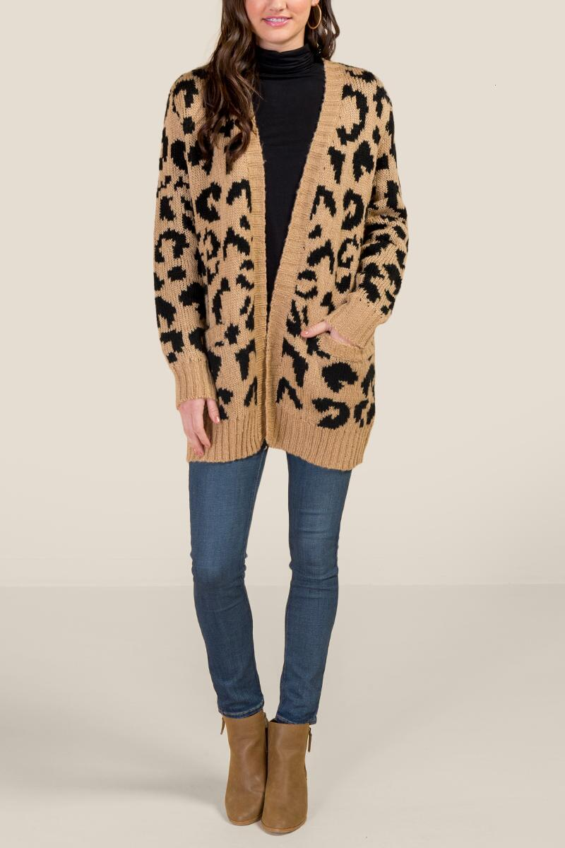 Willow Leopard Cardigan-  taup-cl4