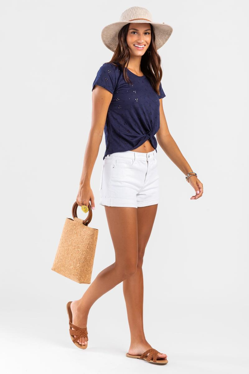 Molly Eyelet Front Twist Tee-Navy 2