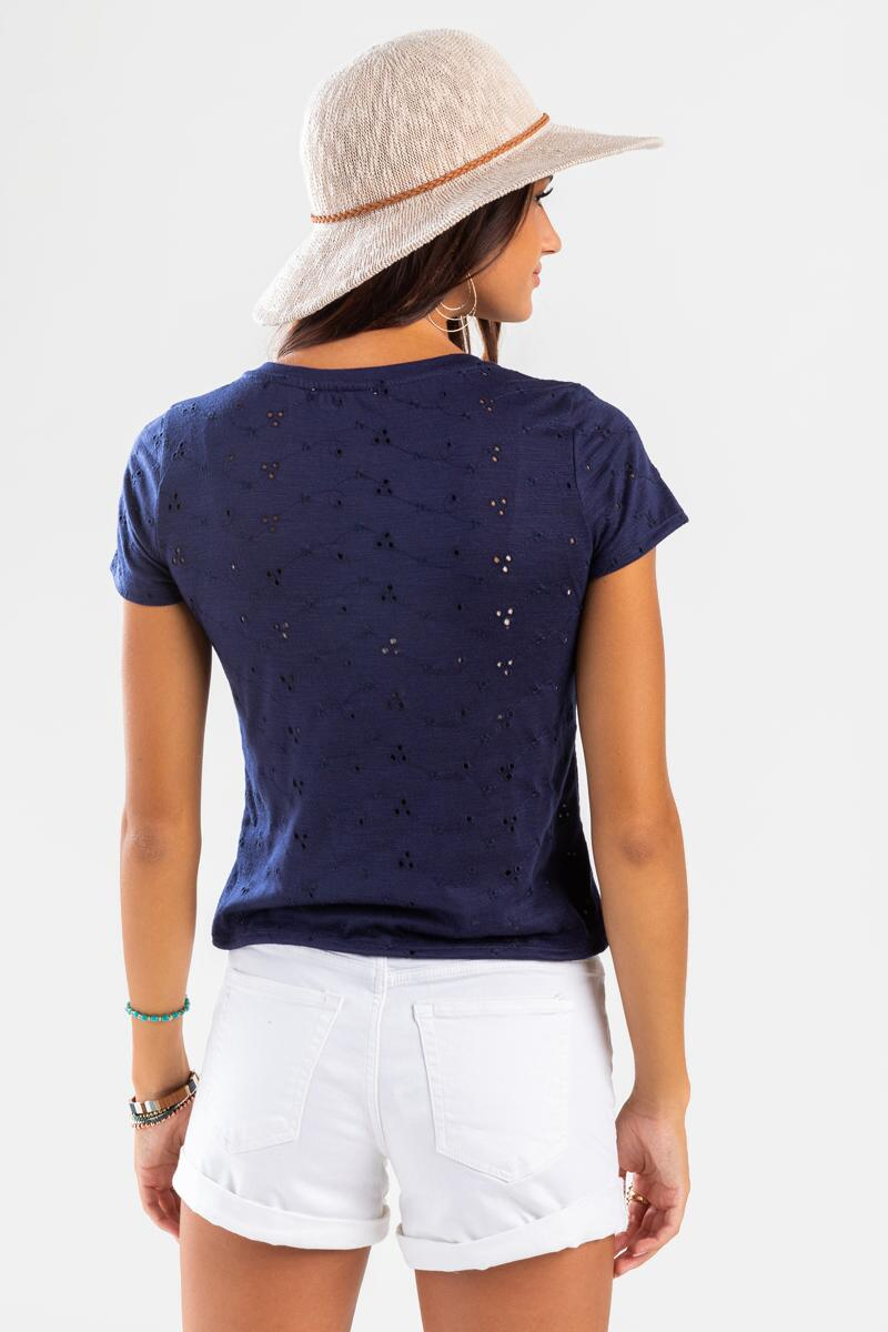 Molly Eyelet Front Twist Tee-Navy 3