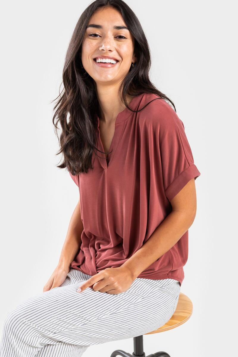 Hartly Front Twist Blouse-  rust-cl