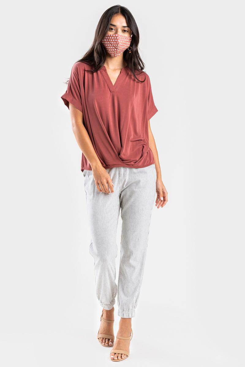 Hartly Front Twist Blouse-  rust-cl2