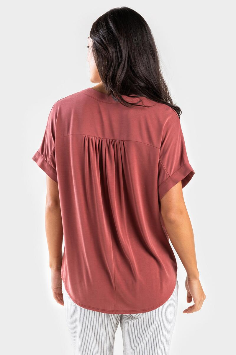 Hartly Front Twist Blouse-  rust-cl3