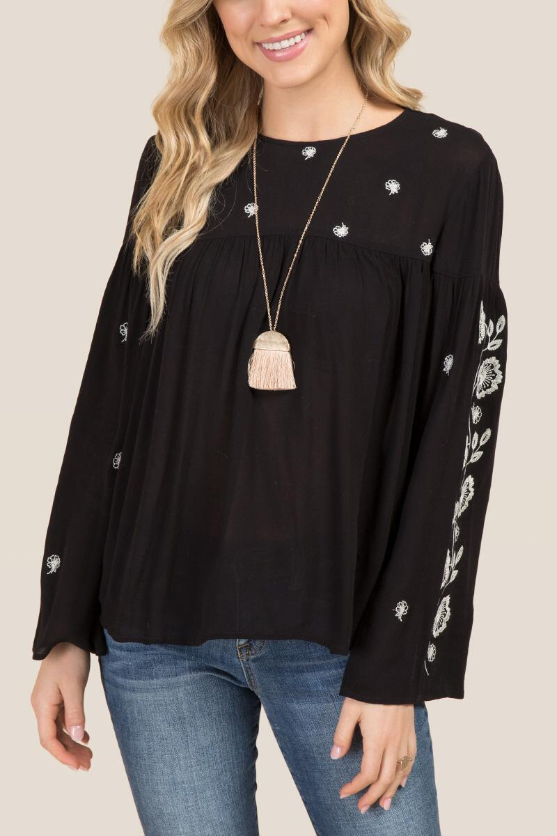 Kiki Embroidered Baby Doll Bell Sleeve Top