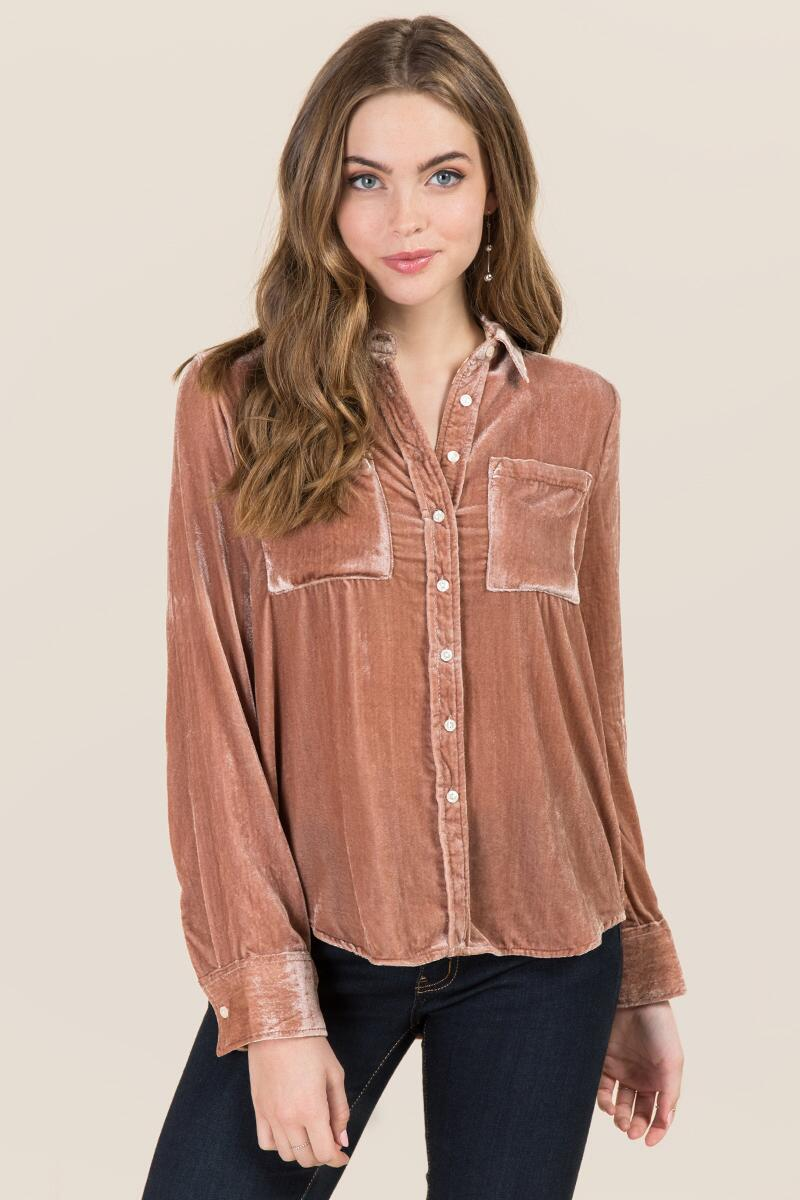 73a34d791e2 Devin Velvet Button Down | francesca's
